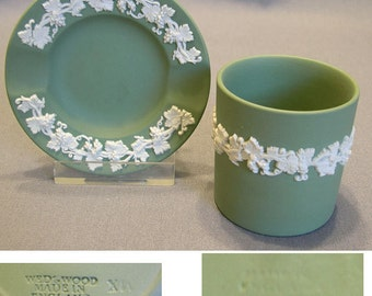 Wedgwood Celedon Green Jasperware Ashtray and Cigarette Cup, 2 Pieces