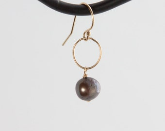 Freshwater Pearl and 14t Gold-fill Earrings