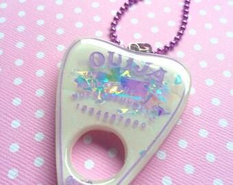 Iridescent Pastel Ouija Pendant / Ouija Planchette Necklace / Pastel Goth / Horror Jewelry / Creepy Cute / Pastel Gothic Jewelry / Cute Goth