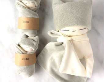 Tiny Doll with Grey Kitten ears hat and comforter,baby friendly stuffed plush,