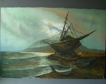 Vintage oil seascape painting. Nautical, coastal, beach Decor.