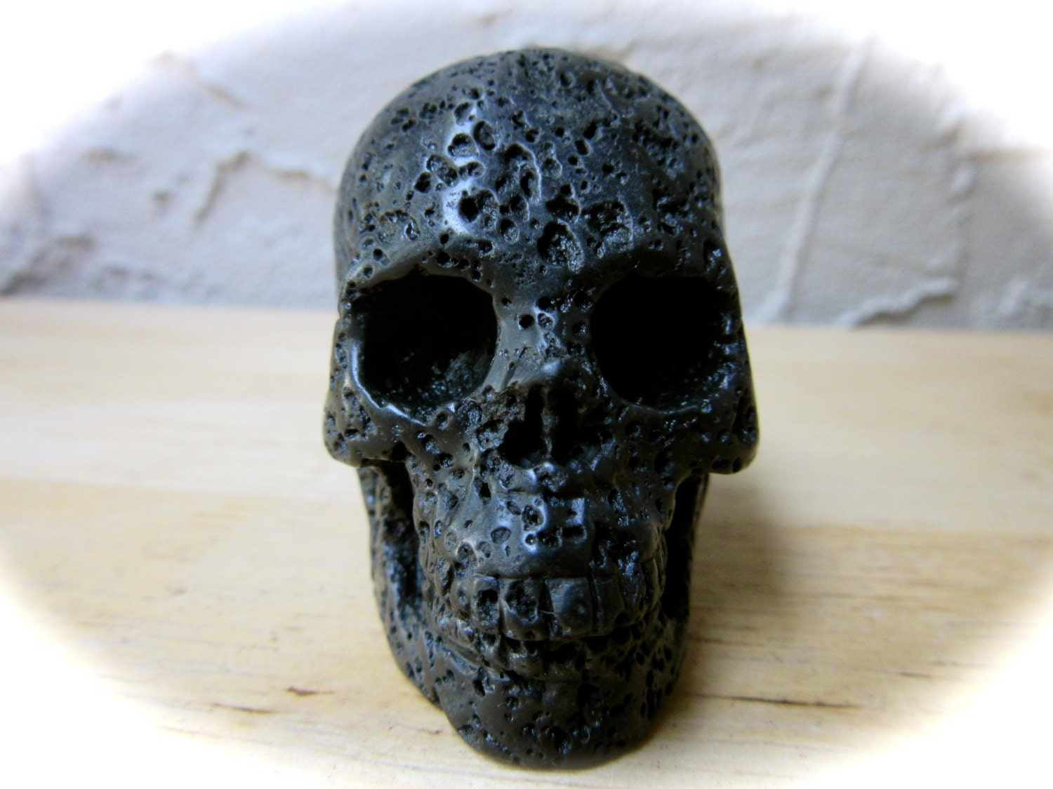 Black lava stone carved crystal skull mm g
