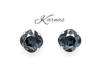 GRAPHITE 12mm Crystal Post or Stud Cushion Cut Earrings Swarovski Elements NEW 2017  *Pick Your Finish *Karnas Design Studio *Free Shipping