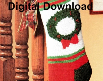 Knit Christmas Stocking Pattern, Vintage Christmas Wreath, Holiday Joy, PDF Instant, Digital Download