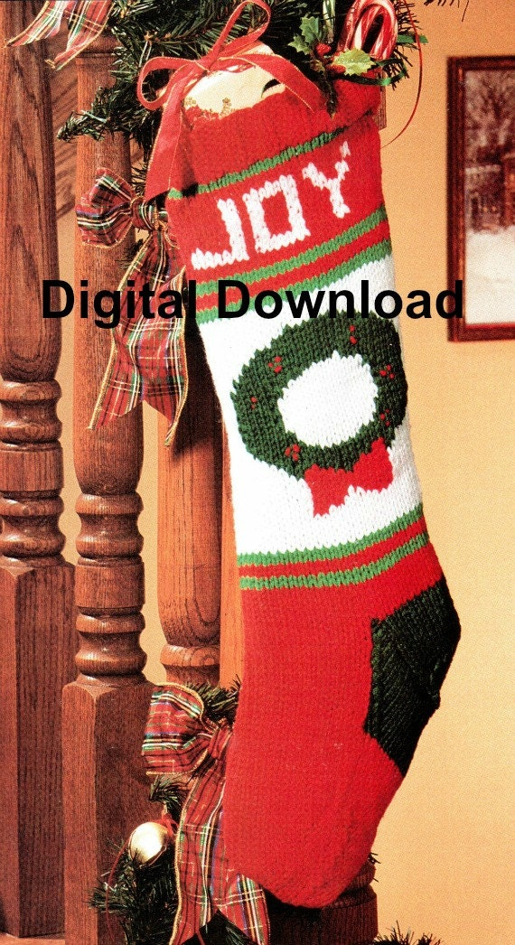 Vintage Christmas Stocking Knitting Pattern : Knit Christmas Stocking Pattern Vintage Christmas Wreath