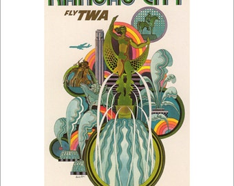 "Vintage TWA Kansas City Print, 1965 Advertisement,  Travel Poster, Matted to 11"" x 14"",  No. 200 112"