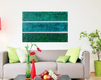 Wood Wall Sculpture - Large Abstract Painting - Multi Panel Art - Teal Modern Wall Art - Green Original Painting  Turquoise Abstract Art