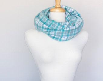 Upcycled Chunky Infinity Circle Scarf (colours: white/blue plaid)