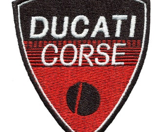 Vintage Style Ducati Corse Motorcycle Patch Badge for Jacket Hat Cap