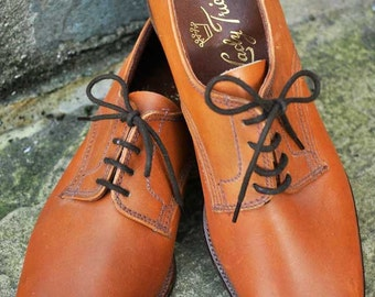 Women's Vintage Midcentury Lady Tricker Lace Up Oxford Shoes in Tan Brown 5 1/2