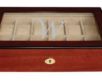 Engraved Cherry Wood Watch Box - Holds 12 Watches - Watch Box With Glass Lid - Jewelry Case Organizer - Perfect Gift