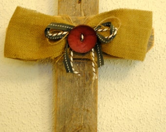 Rustic Cross with Burlap and Buttons