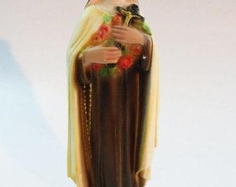 Vintage St. Theresa Chalkware Statue