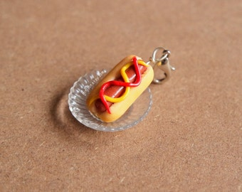 Hot Dog Charm, Ketchup and Mustard - Miniature Food Jewelry, Polymer Clay Food. Miniature Hot Dog. Hot Dog Jewelry.