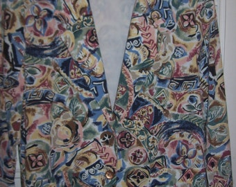 Vintage Briggs Paisley Cotton Blazer Jacket Spring Ready to Travel  Size 14
