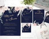 Floral Wedding Invitation - Printable Wedding Invitation Suite - Watercolor Wedding Invite - Navy Gold Wedding Invitation