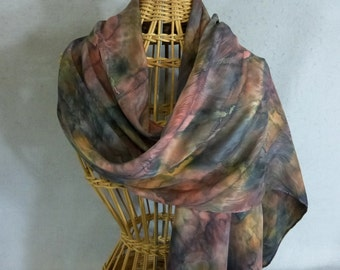 """Silk Scarf """"Rust and Brown"""", Hand Painted Silk Jacquard Scarf, Brown Silk Scarf"""