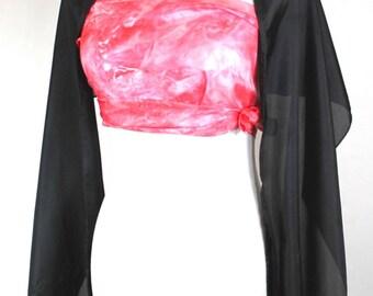 """Black silk shawl, Solid Black formal scarf, 14""""x72"""" scarf, Solid black silk scarf, ready to ship, habotai silk scarf, black silk scarf"""