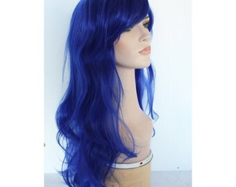 Long wavy blue wig hair synthetic wig -high quality wig, ready to ship