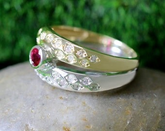 Ruby and Diamond Band <Bezel/Pave> Solid Two Tone 14K White and Yellow Gold (14KW, 14KY) Ring *Fine Jewelry* (Free Shipping)
