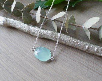 Aqua Chalcedony, Necklace, Sterling Silver, Simple Stone, Small Stone, Teal Stone, Fancy Cut, Teal Gem Necklace, Minimalist Aqua, Aqua Blue