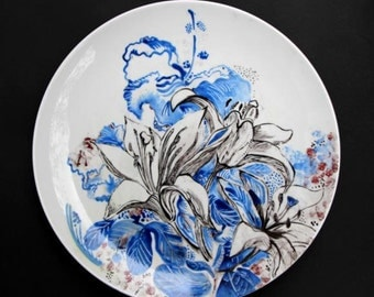 140 Hand-painted porcelain plate - FLOWER