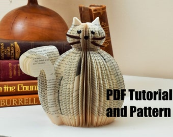 PDF Tutorial and Pattern - Book Art Cat - Paper cutting Pattern - Instructions - photos - Instant Download