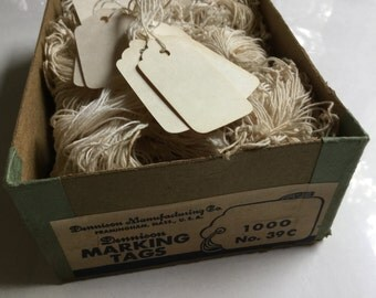 Vintage Supply of Dennison Marking Tags w/ String No. 39C Antique White Color
