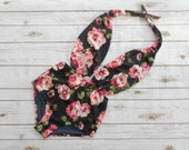 Swimsuit High Waisted Vintage Style One Piece  Retro Pinup Maillot  Black Pink Rose Floral Print Design Plunge Neck Bathing Suit Swimwear