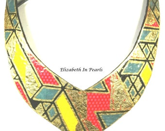 Eccentric: Wax Print on Felt, Collar Necklace With Gold Leaf and Gold Painted Detail
