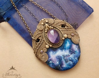 Energy spirals-galaxy necklace painted with amethyst