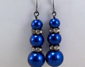 Royal Blue Pearl Drop Earrings