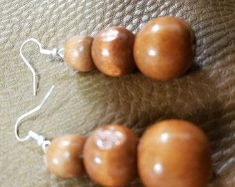 Cherry wood 3 sphere earrings