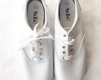 Vintage 90s White Leather Tie Sneaker Keds Style Women's Footwear Size 8.5