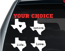 Texas State Decal / I love Texas Decal / State Decal / Car Decal / State Sticker / Car Sticker
