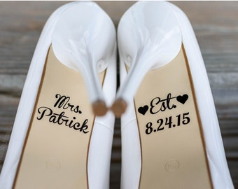 Personalized Wedding Shoe Decal with Date and Name | Personalized Wedding Decoration | Wedding Shoe Decal | Bridal Shoe Decal
