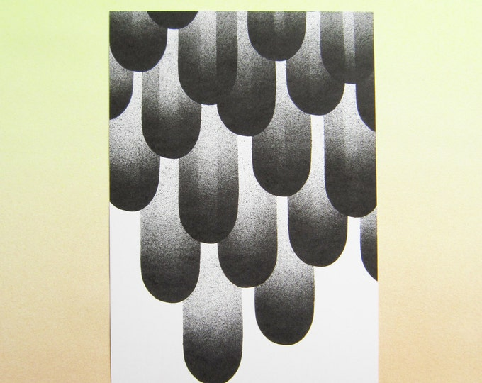 Print, Black & white airbrushed feathers, A4 eco-friendly Print on heavyweight recycled paper