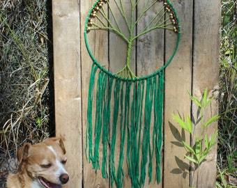 Large Lime & Forest Green Tree Of Life Dream Catcher