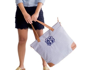Personalized Navy Blue Seersucker Shoulder Bag * Purse with Monogram or Name *  Custom Embroidered Monogrammed Tote Bags * Gift