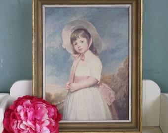 Framed Print Miss Willoughby George Romney Vintage Print Little Girl Bonnet Childs Decor