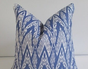 Quadrille China Seas Blue Ikat Designer Pillow Cover 18x18, 20x20 Square Throw Pillow, Accent Pillow, Toss Pillow
