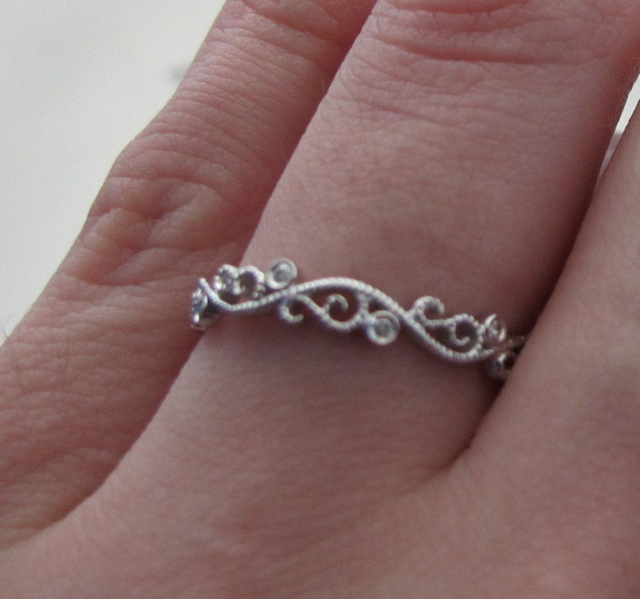 Diamond Filigree Wedding Band Filigree Wedding Ring Diamond
