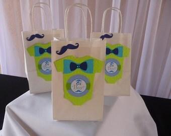 Oh boy Favor Bags, Little man, 4 Party Favor ready to use/  Mustache Theme favor Bag/ Party Favor Bag