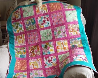 Whimsical baby quilt..very colorful!