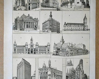 1900 World Architecture: Paris, Chicago, Barcelona, Kyoto... Antique Rare & Beautiful Lithograph... 115 years old nice print!