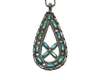 Vintage Petit Point Turquoise Pendant Signed Zuni Necklace