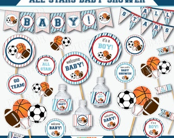 All Star Baby Shower - Sports Baby Shower Decorations - Printable Baby Shower - Sports Baby Shower - Blue Baby Shower (Instant Download)