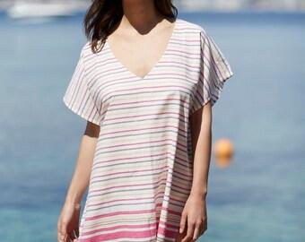 Beach cover-up, Striped, cotton, beach kaftan Cara