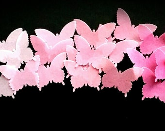 Edible Ombre Pink Wafer Butterflies Cake/Cupcake Toppers Set of 30