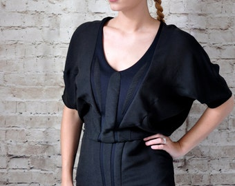 80s Vintage Black Mini Dress with V-Neck